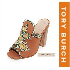 NWT TORY BURCH BROWN WITH FLORAL DETAIL MULES